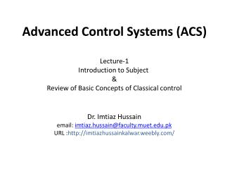 Advanced  Control  Systems (ACS)
