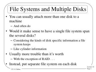 File Systems and Multiple Disks