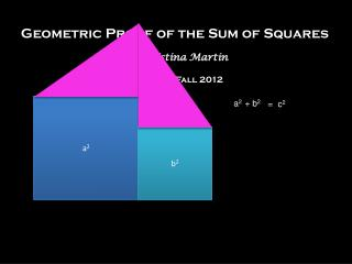 Geometric Proof of the Sum of Squares by Christina Martin Math 310, Fall 2012