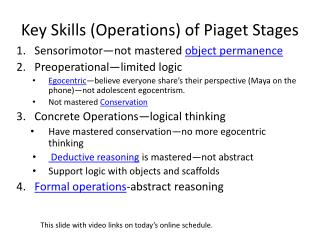 Key Skills (Operations) of Piaget Stages