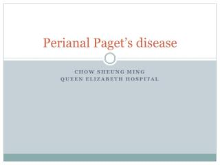 Perianal Paget's disease