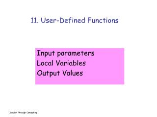 11. User-Defined Functions
