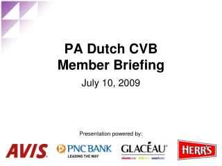 PA Dutch CVB  Member Briefing