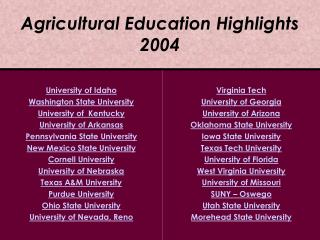 Agricultural Education Highlights 2004