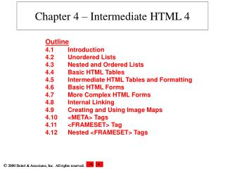 Chapter 4 – Intermediate HTML 4