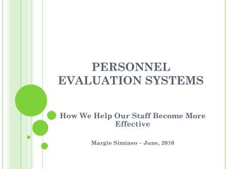 PERSONNEL EVALUATION SYSTEMS