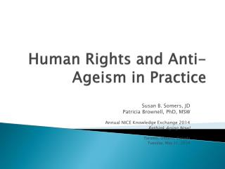 Human Rights and Anti-Ageism in Practice