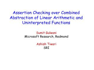 Assertion Checking over Combined Abstraction of Linear Arithmetic and Uninterpreted Functions