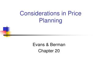 Considerations in Price Planning
