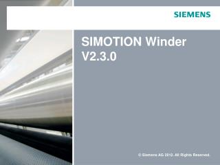 SIMOTION Winder V2.3.0