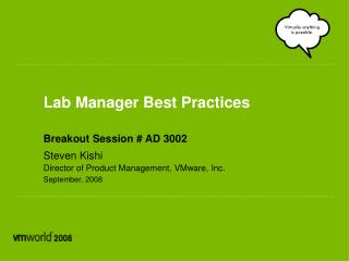 Lab Manager Best Practices