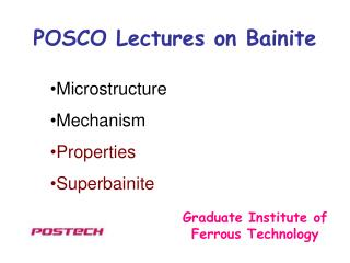 POSCO Lectures on Bainite