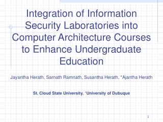 Integration of Information Security Laboratories into