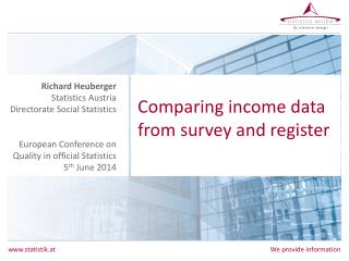 Comparing  income data from survey and register