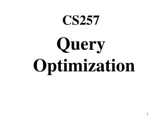 CS257 Query Optimization