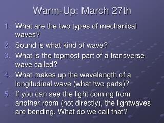 Warm-Up: March 27th