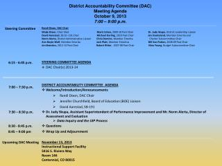 District Accountability Committee (DAC)  Meeting Agenda   October 9, 2013 7:00 – 9:00 p.m.
