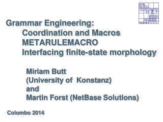 Grammar Engineering: Coordination and Macros METARULEMACRO Interfacing finite-state morphology