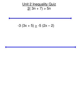 Unit 2 Inequality Quiz 2 ( 3n + 7) > 5n -3 (3x + 5)  >  -5 (2x – 2)