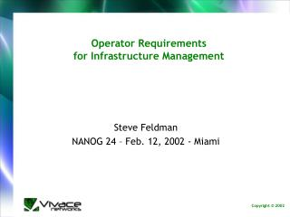 Operator Requirements for Infrastructure Management