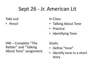 Sept 26 - Jr. American Lit