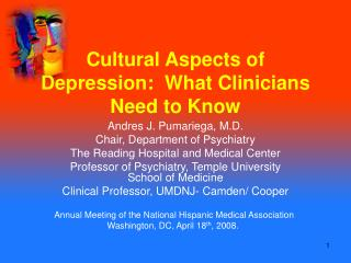 Cultural Aspects of Depression:  What Clinicians Need to Know