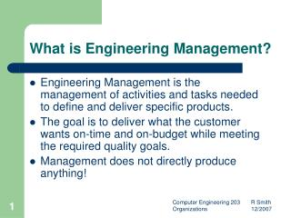 What is Engineering Management?
