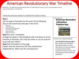 American Revolutionary War Timeline