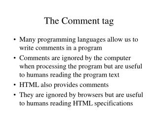The Comment tag