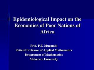 Epidemiological Impact on the Economies of Poor Nations of Africa
