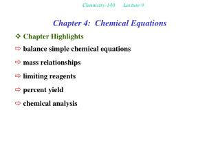 Chemistry-140      Lecture 9