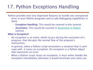17. Python Exceptions Handling