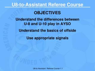 U8-to-Assistant Referee Course