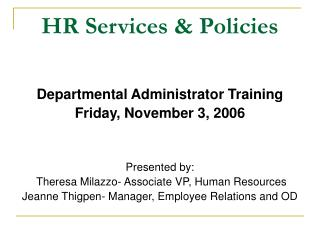 HR Services & Policies