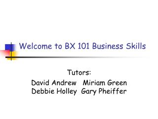 Welcome to BX 101 Business Skills