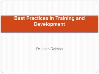 Best Practices in Training and Development