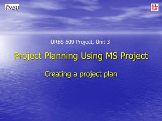 Project Planning Using MS Project