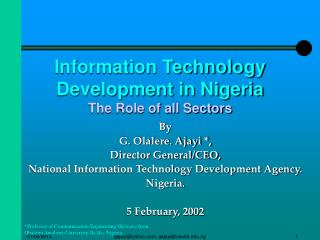 Information Technology Development in Nigeria The Role of all Sectors