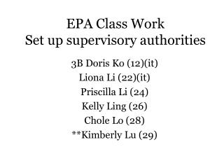 EPA Class Work Set up supervisory authorities