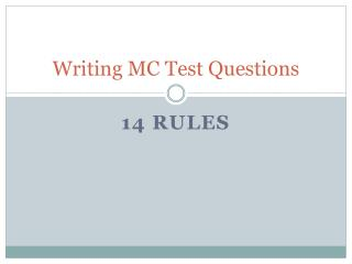 Writing MC Test Questions