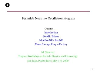 Fermilab Neutrino Oscillation Program