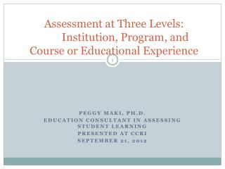Assessment at Three Levels:  	Institution, Program, and  Course or Educational Experience