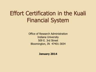 Effort Certification in the Kuali Financial System