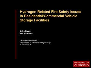 Hydrogen Related Fire Safety Issues in Residential/Commercial Vehicle Storage Facilities