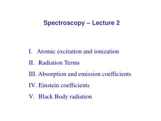 Spectroscopy – Lecture 2