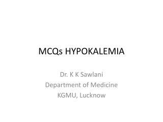 MCQs HYPOKALEMIA