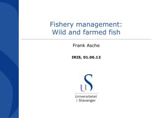 Fishery management: Wild and farmed fish