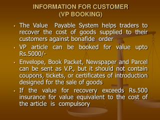 INFORMATION FOR CUSTOMER (VP BOOKING)