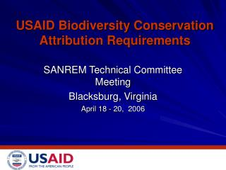 USAID Biodiversity Conservation Attribution Requirements