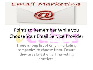 Choosing Your Email Service Provider